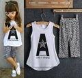 2017 Niños Niñas Bebé ropa de verano conjunto 2 unids traje Letter Print Tops y Pantalones de Leopardo sin mangas ropa para niños conjuntos