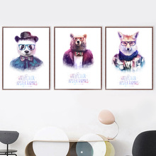 Watercolor Panda Bear Fox Modern Nordic Posters And Prints Wall Art Canvas Painting Nursery Pictures For Living Room Decor