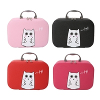 THINKTHENDO New Cute Women Cosmetic Case Beauty Box Cute Cats Print PU Leather Makeup Handbag 4