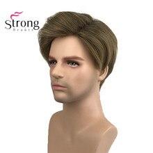 سترونجبيوتي بني فاتح قصير للرجال الباروكات الاصطناعية شعر مستعار كامل للرجال