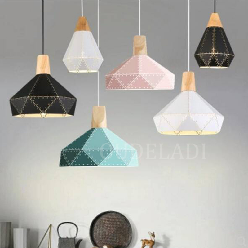 Nordic Macarons Pendant Lights Creative Dining Room Lamp Modern Simple Bedroom Bar Hanging Lamp Iron Wood Pendant Lamp