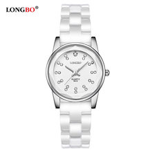 2018 New LONGBO Brand Lovers Famale White Ceramics Watches Casual Men Women Quartz Watch Mujer Luxury Couple Wristwatch Fashion(China)