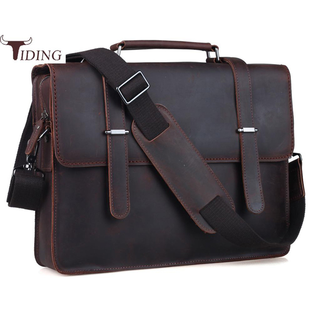 Tiding Thick Cowhide 14 Laptop Briefcase Bag Mens Flap Messenger Shoulder Bags Satchel Computer