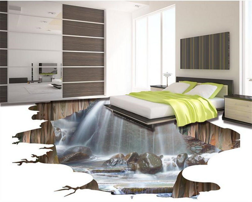 Home Improvement Wallpapers Beibehang Custom Floor Decoration Painting 3d Three-dimensional Lotus Pool Floor Living Room Shopping Malls Flooring Wallpapers With Traditional Methods