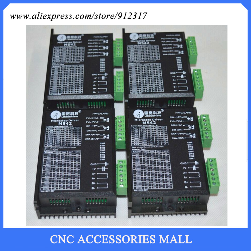 4pcs/lot Leadshine stepper Driver M542 2-phase hybrid Motor Driver 48 VDC 1.0A to 4.2A for 42 / 57 stepper motor