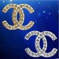 """Criativo de moda de Luxo diamante decoração de móveis lidar com cristal K9 gaveta do armário puxe knob 32mm Dois """"c"""" prata punho do ouro"""