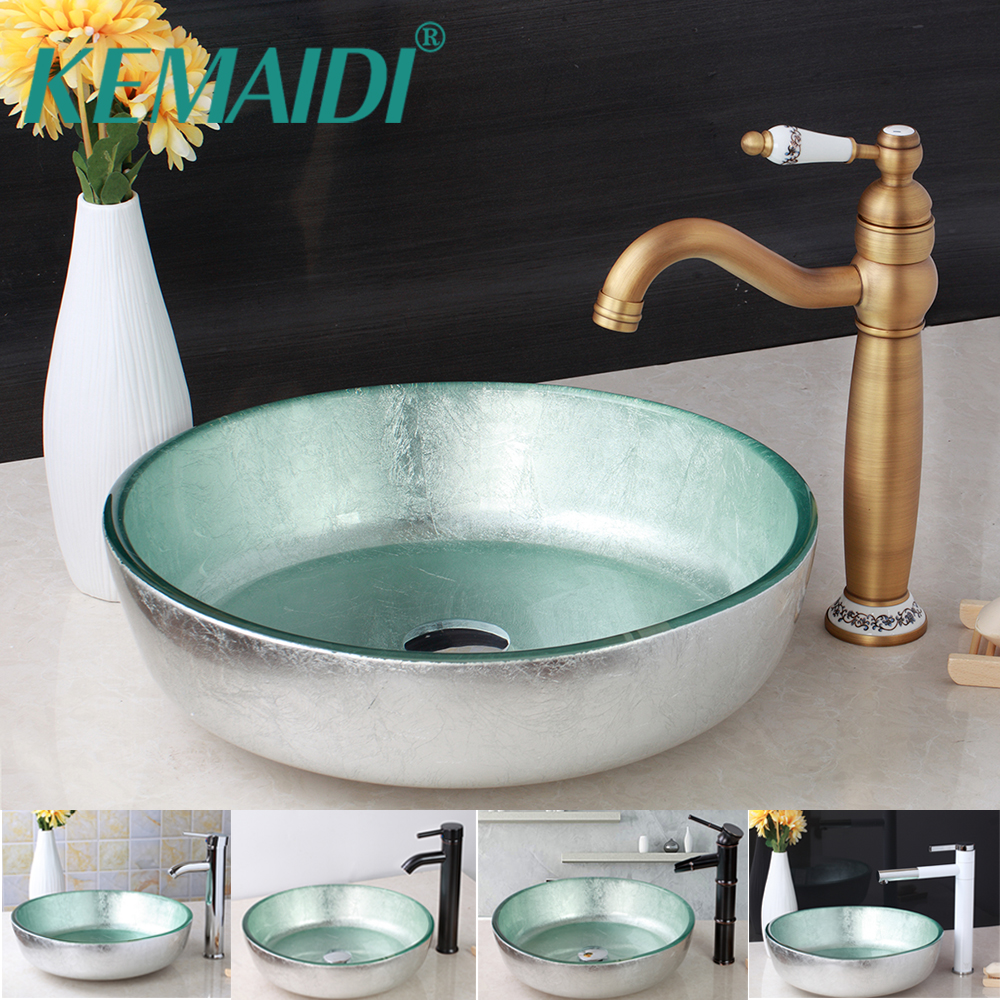 KEMAIDI Bathroom Mixer Bathroom Basin Faucets Set Glass Washbasin Vessel Lavatory Basin Combine Brass Vessel Vanity Tap ORB