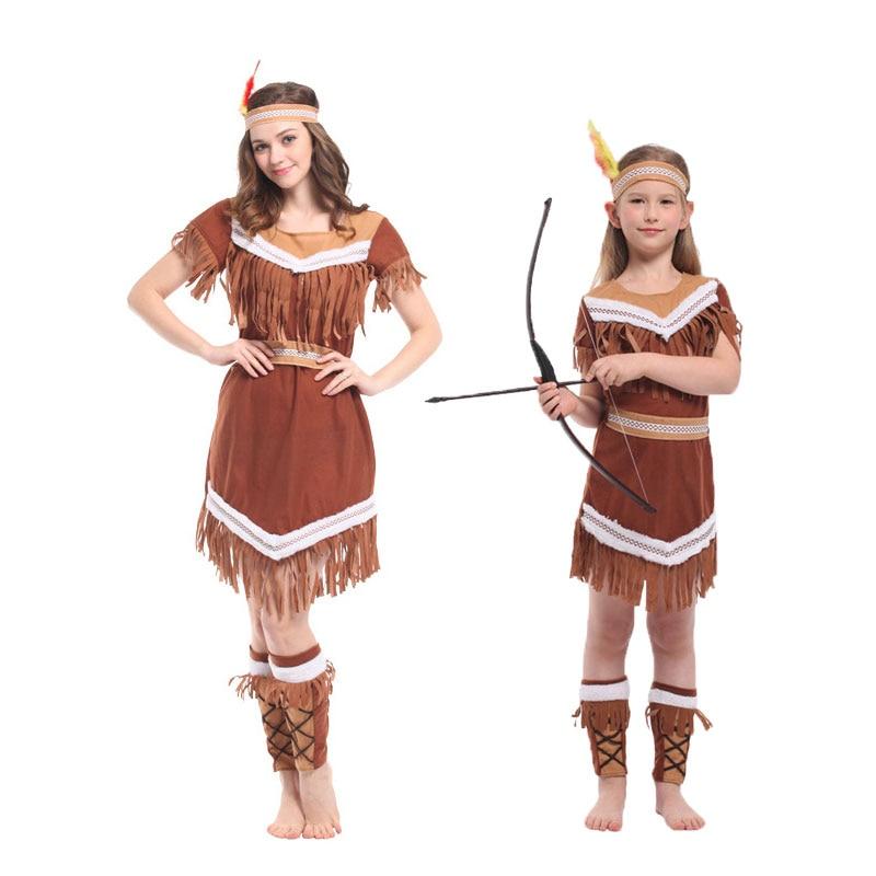 Umorden Halloween Costumes American Indian Princess Cosplay Women Native Hunter Huntress Costume Girl Fancy Dress for Adult Kids