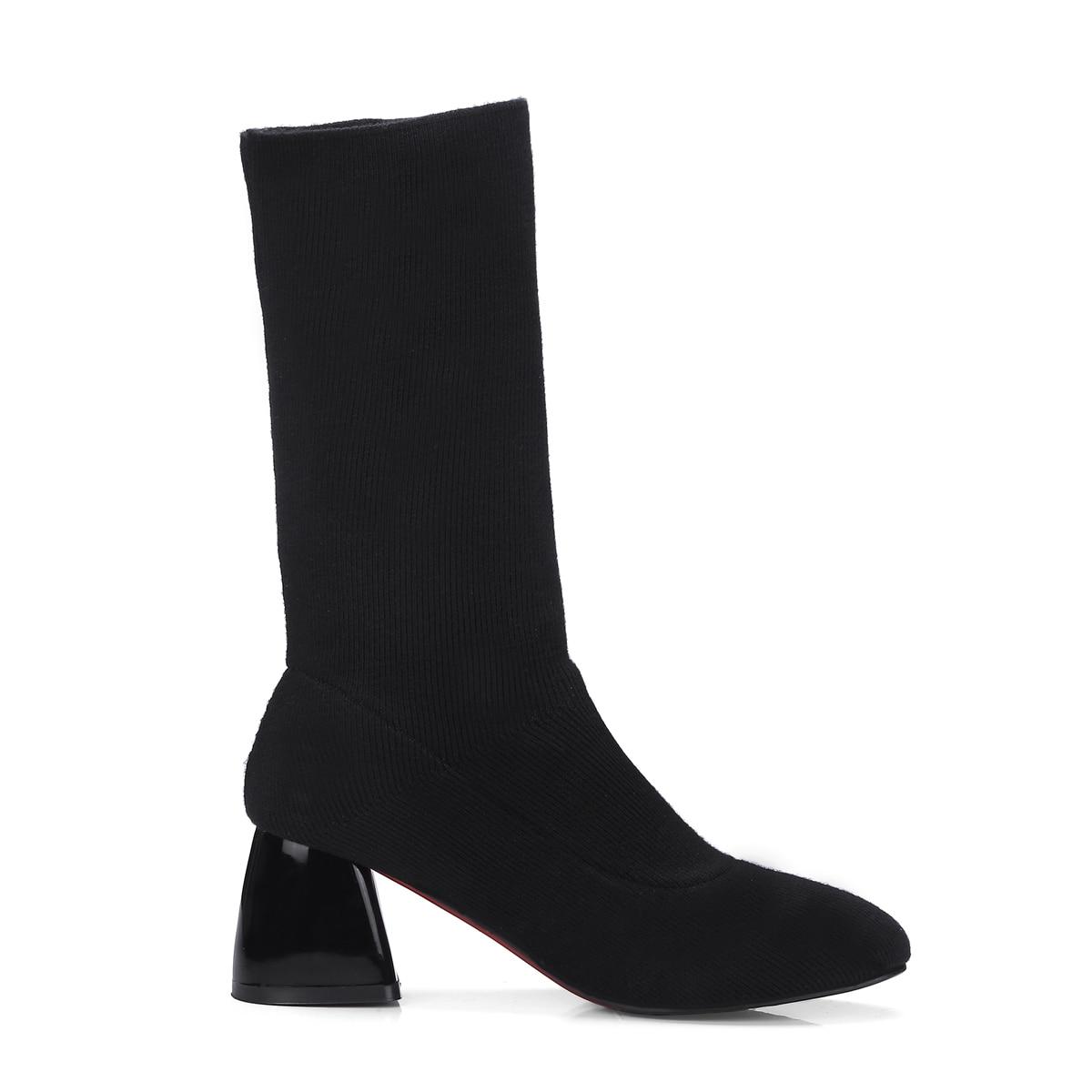 Noir Hiver Chaussures Cheville Femme Femmes Bottes Épais 2018 Beige Beige Courtes Bottine Chaussettes Talons Nouveau Rond noir Tricot Bout Automne Mode À nTqOxCZ