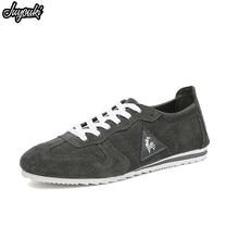 64fda204cf478 Juyouki 2019 جديد حذاء كاجوال للرجال الفرنسية العلامة التجارية الديك أحذية  من الجلد تنفس الصيف الشقق الرياضة حذاء من الجلد المدب.