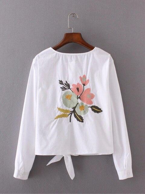 2016 new arrival cotton shirt women Long sleeve White blouse hem bow Back Embroidery Short tops blusas femininas 2016 e camisas