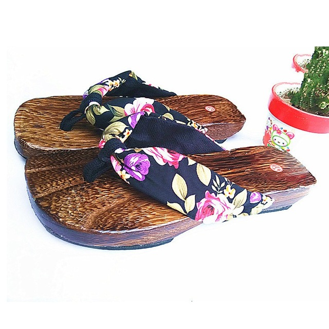 Women Clogs Japanese Geta Wooden Flip Flops Floral Sandals Slippers Shoes  Summer Shoes Clogs Floral Casual ef947d7425