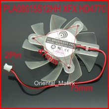 Free Shipping PLA08015S12HH 12V 0.35A 75mm 47*47*47mm For XFX HD4770 Graphics Card Cooler Cooling Fan 2Pin 2Wire