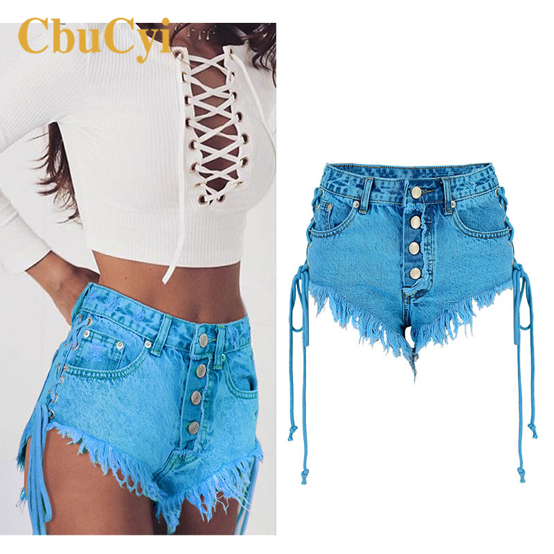 CbuCyi <font><b>Women's</b></font> Summer <font><b>Shorts</b></font> High Waist Tassels Side Straps <font><b>Sexy</b></font> <font><b>Mini</b></font> Denim <font><b>Short</b></font> Jeans Ladies Blue Cotton Denim Hot <font><b>Shorts</b></font> 2018 image