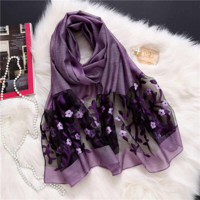 29818b822 ... 2019 designer brand women scarf fashion spring summer silk scarves  Hollow floral lady shawls and wraps