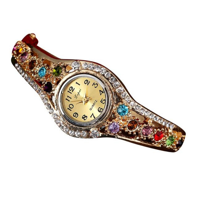 Fashion Vintage Women Dress Watches Colorful Crystal Women Bracelet Watch Wristw