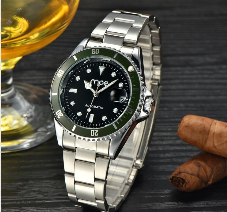 Automatic Mechanical Watch Men Hot Skeleton Watches Silver Bracelet Wristwatch Luxury Brand Watch Men Calendar Relogio Masculino