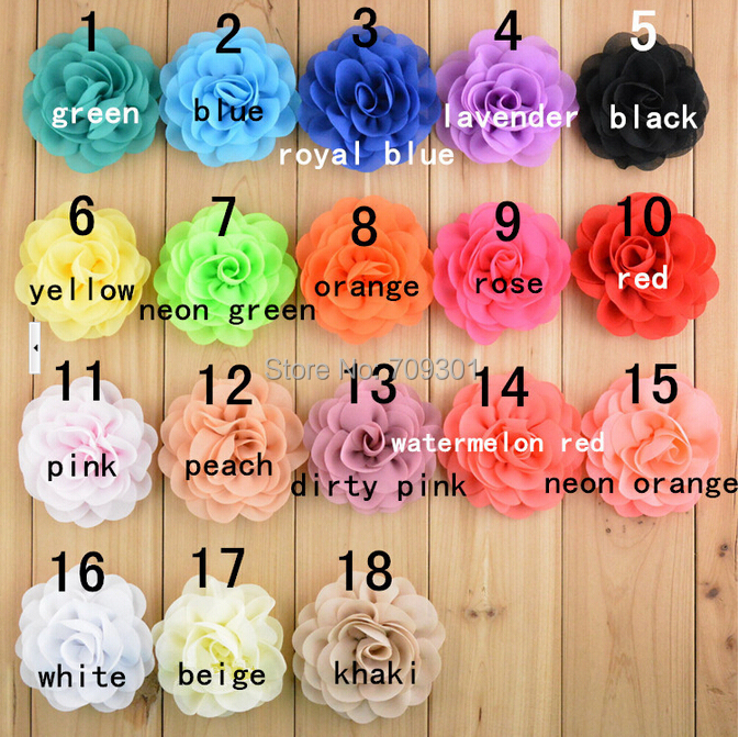 Beaded Pearl Center Chiffon Fabric Flowers Diy Crafts Flat Back Polka Dot Hair Flower Without Clip Making Headbands