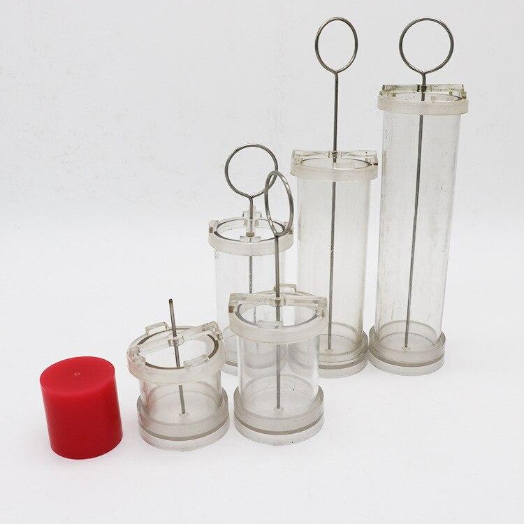 Moules à bougie à bricoler soi-même, cylindre manuel coulée moule à cire avec côté plat rond, mèche et fil d'acier gratuitement, Multi tailles en option