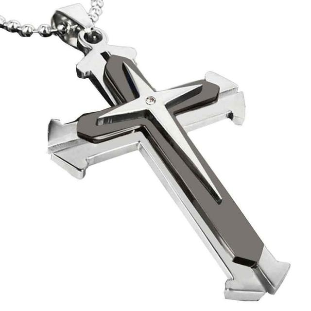 Bling-world New Fashion Elegant Man Women Stainless Steel Cross With Synthetic Stones Necklaces Chain Jewelry Gift Sep15 1