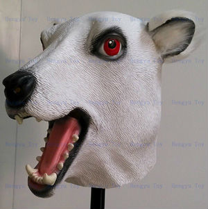 Adult Realistic Fancy Costume Rubber Latex Polar Bear Mask for Halloween Christmas Masquerade