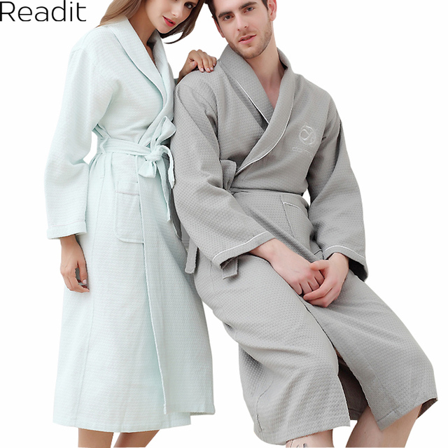 Men's and Women's Cotton Bathrobe Kimono Hotel Bathrobe Summer Waffle Sweat Evaporate Couples Bathrobe PA1878P