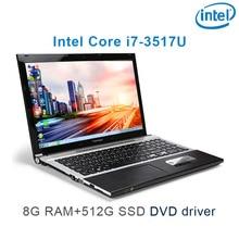 "P8-12 black 8G RAM 512G SSD i7 3517u 15.6 gaming laptop DVD driver HD screen business notebook computer"""