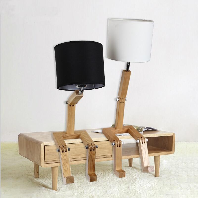 Loft Robot Pli Industriel Table Lumineuse Edison Bureau Bois Homme