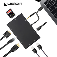 Yusion USB C 3.1 Type C To RJ45 Gigabit Ethernet 4K HDMI 1080P VGA Adapter WIth USB3.0 SD Audio PD Charge For Macbook Pro