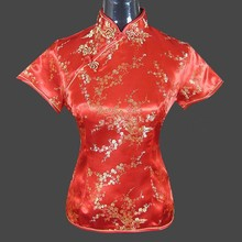 Promotion Red Chinese Women's Silk Satin Blouse Traditional Shirt Short Sleeve Tang Suit Free Shipping Size S M L XL XXL J004-E