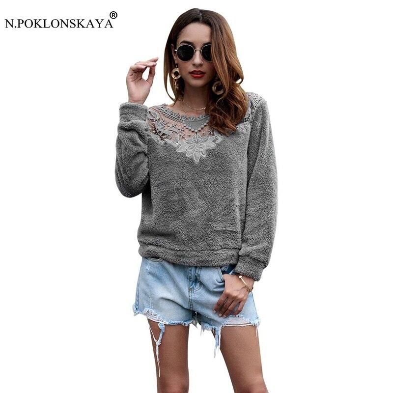 N.POKLONSKAYA Embroidery Tops for Women Long Sleeve Fleece Warm Sweatshirt Sexy Openwork Patchwork Hoodies Female Autumn Clothes