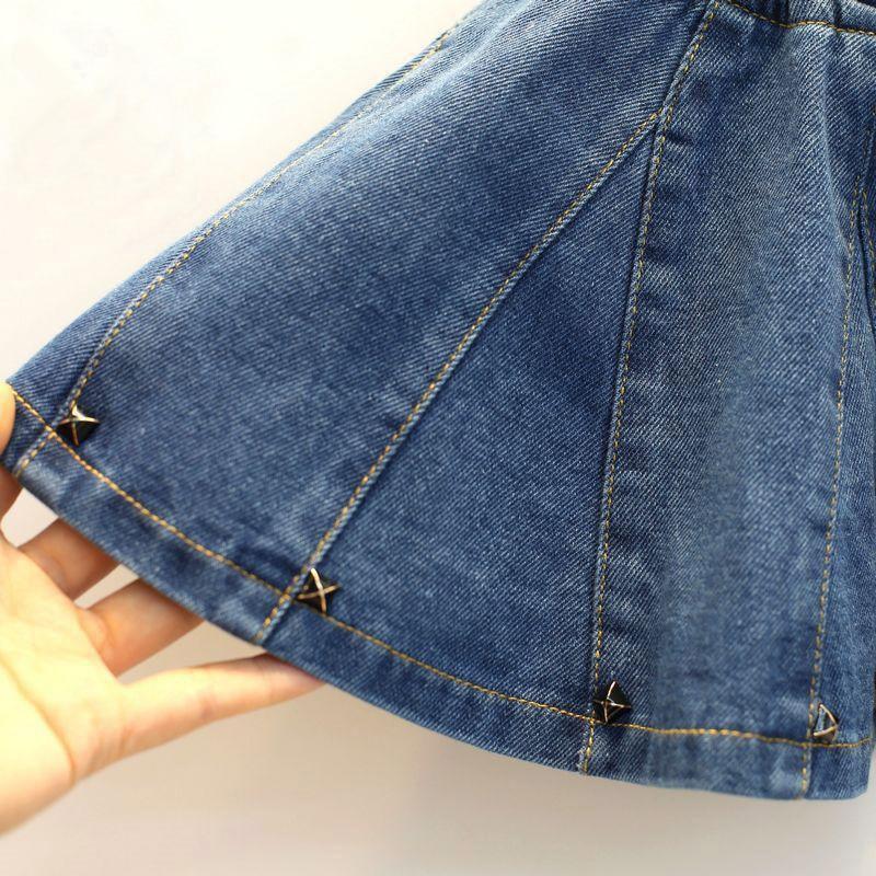 b21a40709 2019 nuevas faldas sólidas de primavera y verano para niñas falda de Jean  para niñas faldas de fiesta para niñas marca de niños