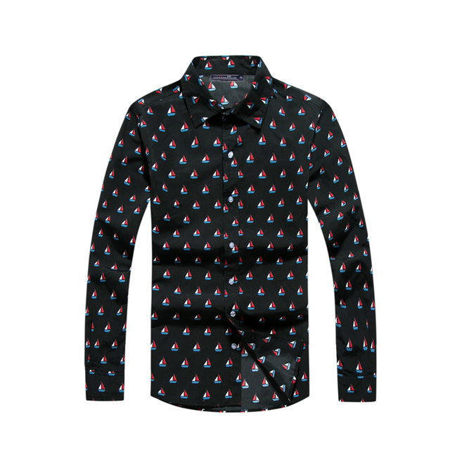 edacf30858c99 Los hombres camisas de marca 2017 nueva primavera de manga larga poliéster  velero impresión Camisas Casual