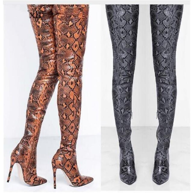 Fashion Snakeskin Print Over the Knee Woman Boots Sexy Pointed Toe Thin High Heels Thigh High Nightclub Boots Bottine Femme Fashion Snakeskin Print Over the Knee Woman Boots Sexy Pointed Toe Thin High Heels Thigh High Nightclub Boots Bottine Femme