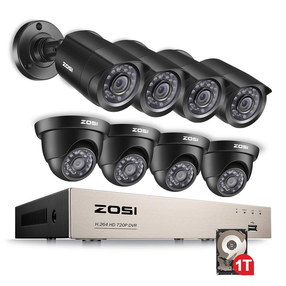 ZOSI 8CH 1080N H.264 + 1 TB 8CH TVI DVR 8 720 P Bala Ao Ar Livre/Dome CCTV Home Video câmera de segurança Sistema de Vigilância Kits