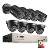ZOSI 8CH 1080N TVI H.264+ 1TB 8CH DVR 8 720P Outdoor Bullet/Dome CCTV Video Home Security Camera System Surveillance Kits