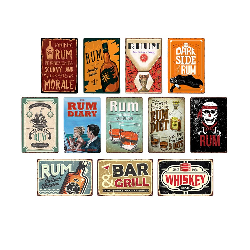 Rum Wine Vintage Metal Tin Signs Whiskey Rhum Wall Poster Pub Bar Decoration Retro Art Plate 20x30cm