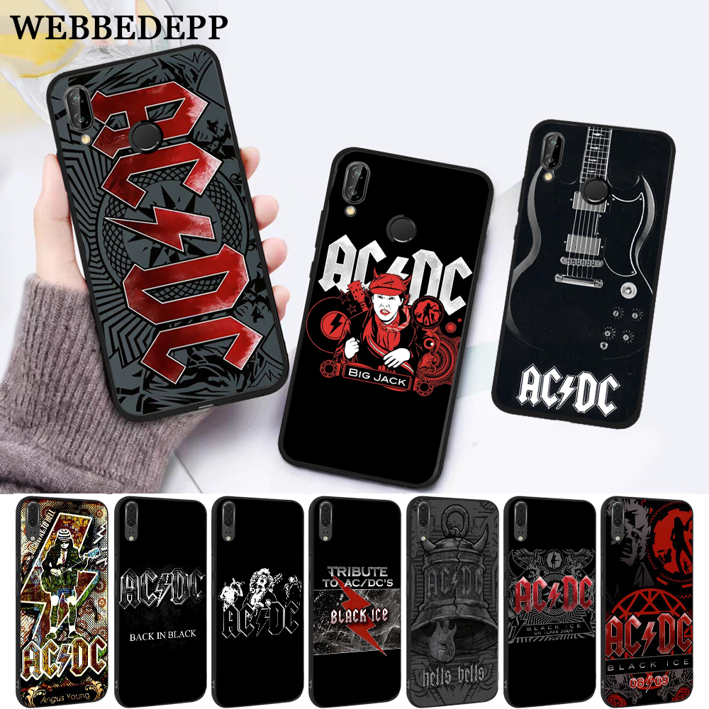 WEBBEDEPP Music Band ACDC Silicone Case for Huawei P8 Lite 2015 2017 P9 2016 Mimi P10 P20 Pro P Smart 2019 P30