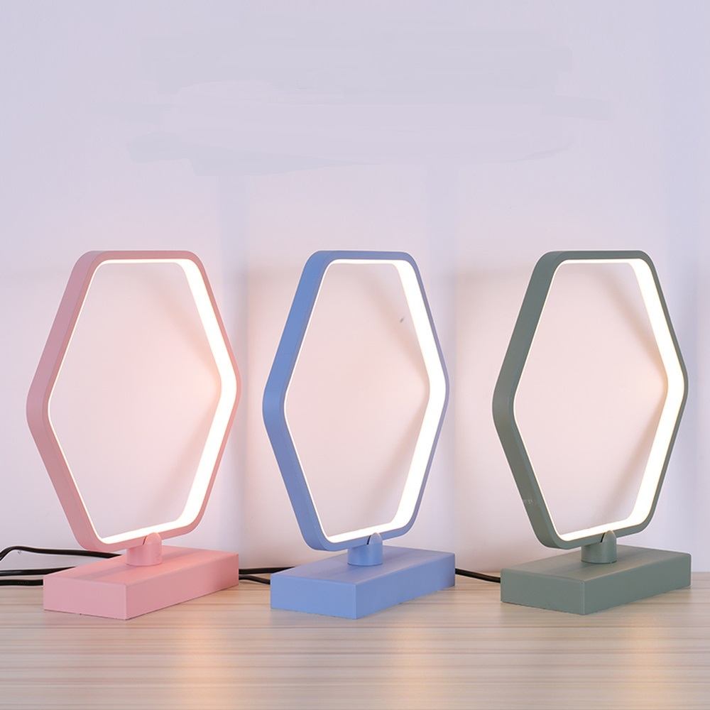 Amiable Table Lamp Bedroom Children Simple Light Modern Creative Nordic Lights Living Room Led Lamp Hexagonal Edge Desk Lamp Lu8211806