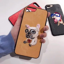 Cute embroidery Teddy pug  dog pet cover for apple iPhone