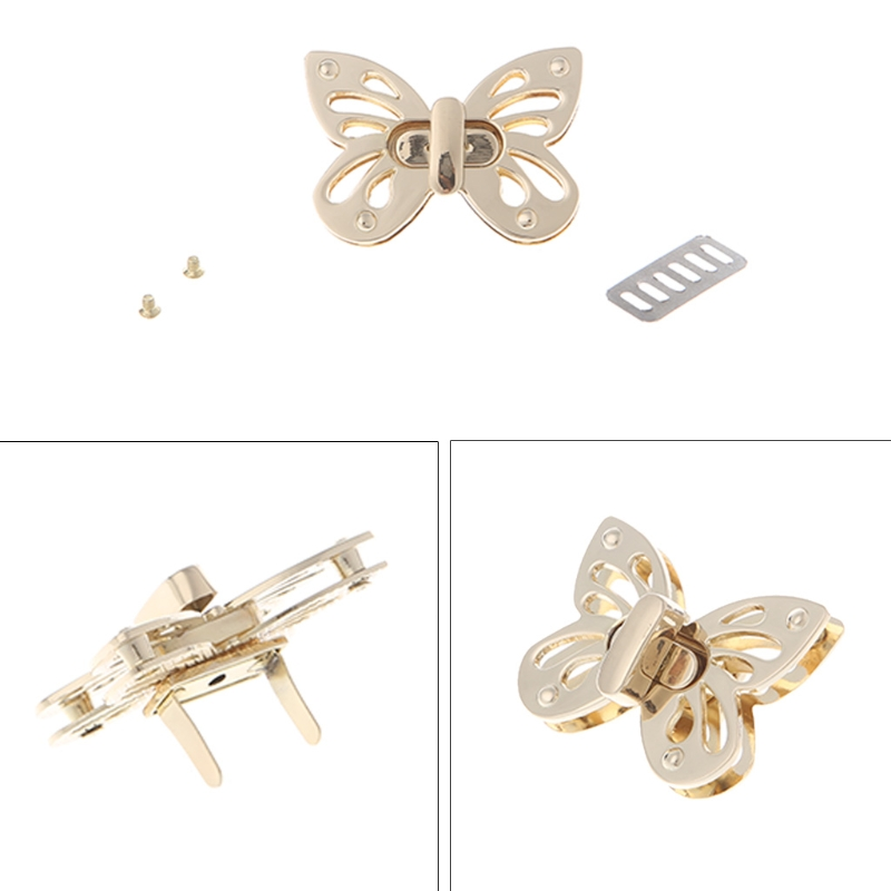 Bobeey 2sets Butterfly Purses Locks Clutches Closures with Butterfly shape,Purse Twist Lock BBL2 Brussed brass