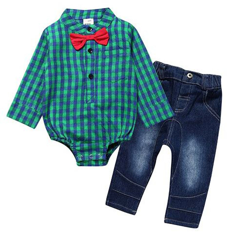 baby boy clothes 2018 Long sleeve rompers with tie+jeans pants clothing set for 0-3Y children gentleman clothes kids outfits set kids baby boy long sleeve gentleman t shirt tops long pants 2pcs outfits clothing set hot