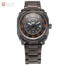Shark Army Auto Date Calendar Black Orange Stainless Steel Band Analog Quartz Military Male Clock Men Sports Watches /SAW140