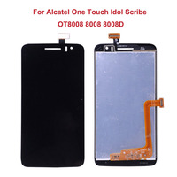 For Alcatel One Touch Idol Scribe OT8008 8008 8008D LCD Display Touch Screen Original Digitizer Assembly