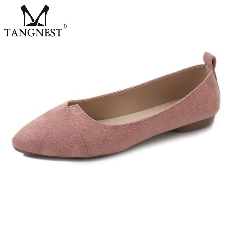 Tangnest NEW Shallow Women's Ballet Flats Fashion Pointed Toe Pu Leather Flats For Women Spring Casual Soft Flat Shoes XWD6427 2017 womens spring shoes casual flock pointed toe narrow band string bead ballet flats flat shoes cover heel women flats shoes