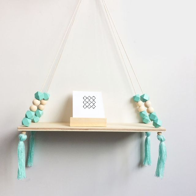 Home Nordic Style Storage Rack INS Wall Shelves Wall Decor Wooden Beads Tassel Storage Swing Shelf Kid's Room Organizer for Toys 4