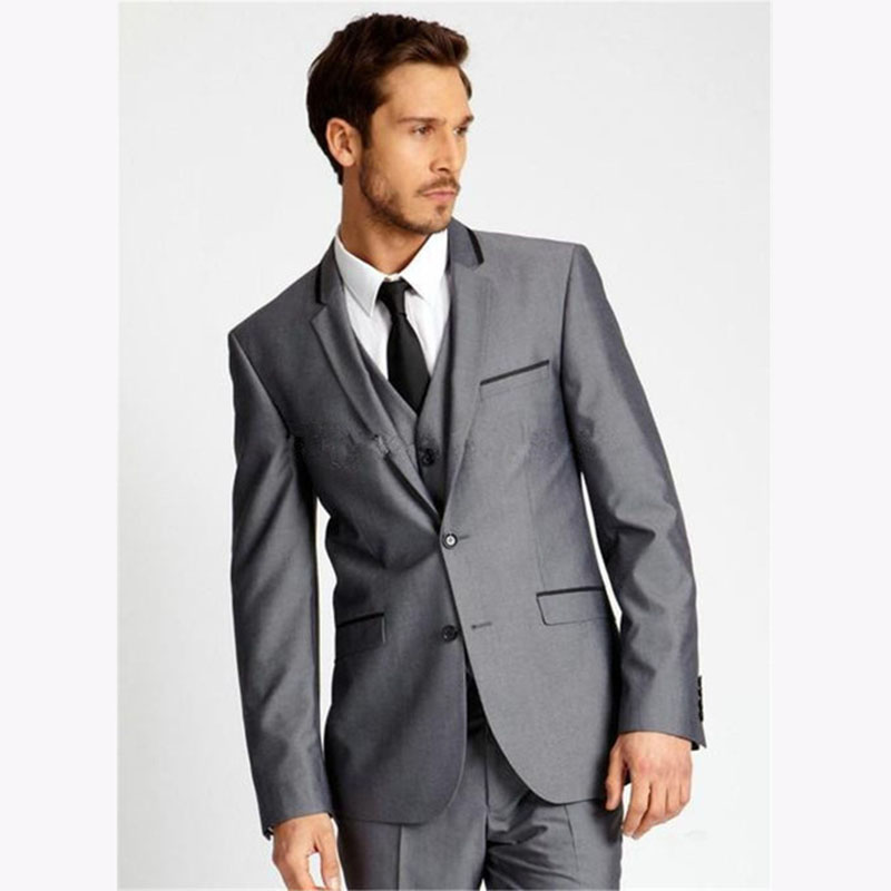 Dark Grey Slim Fit Side Slit Groom Tuxedo 2017 Two Buttons Notch Lapel Mens wedding Suits Men Business Suit (Jacket+Pants+Vest)