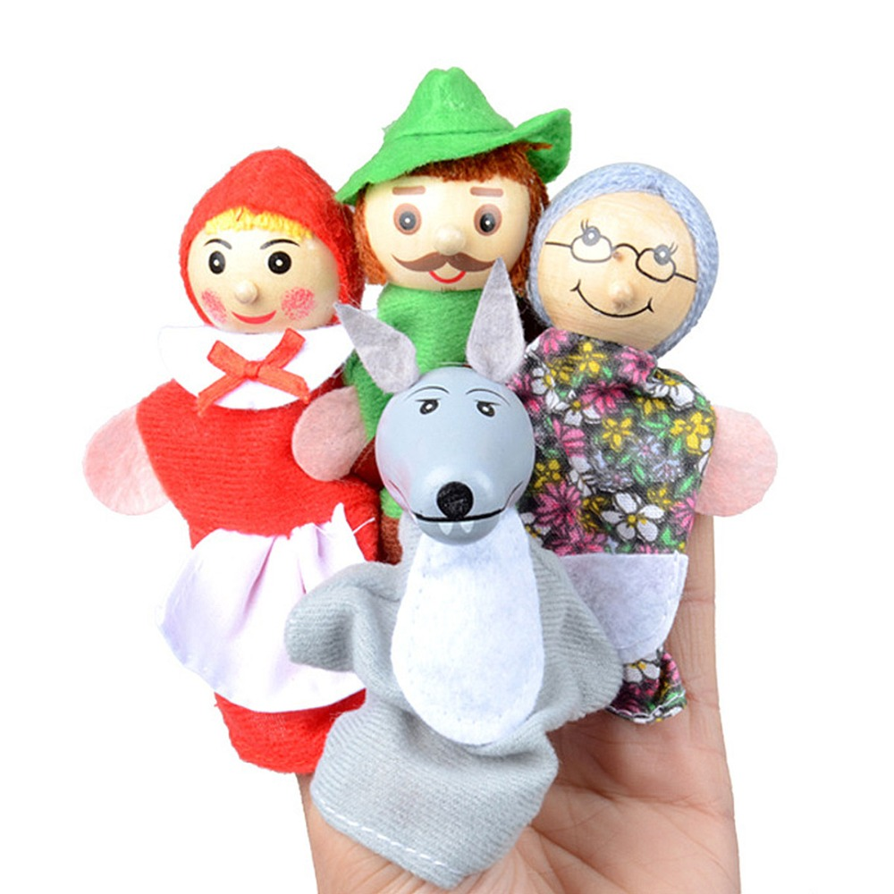 Puppets Dolls Fairy Tale Characters Finger Puppets Soft Theater Show Props Toys For Children Game Gift Baby Cartoon Wolf Kids