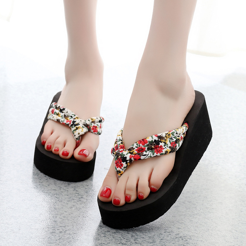 4a6eb0c9a Summer Women Flip Flops Slippers High Heel Platform Wedge Thick Beach  Casual Thong Sandals Shoes LT88