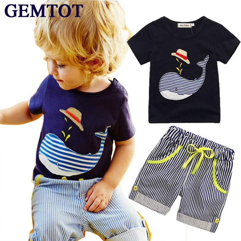 GEMTOT Summer Kids Children's cotton short-sleeved suit boys suits t-shirt + pants 2pcs striped short baby Whale Cartoon 2017
